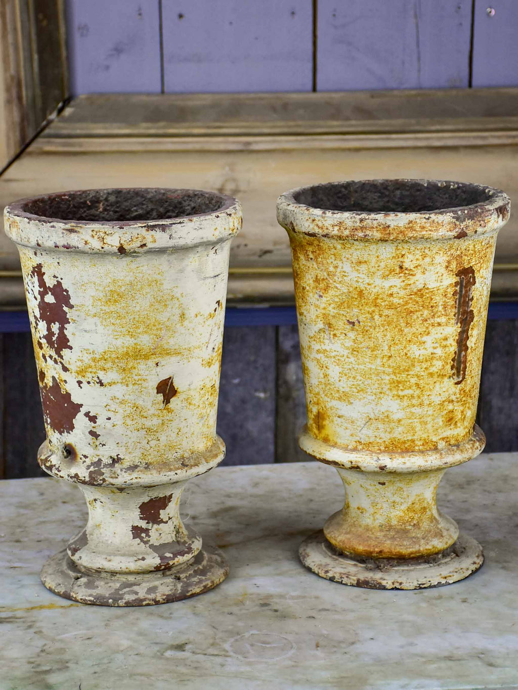Two antique French cast iron vases