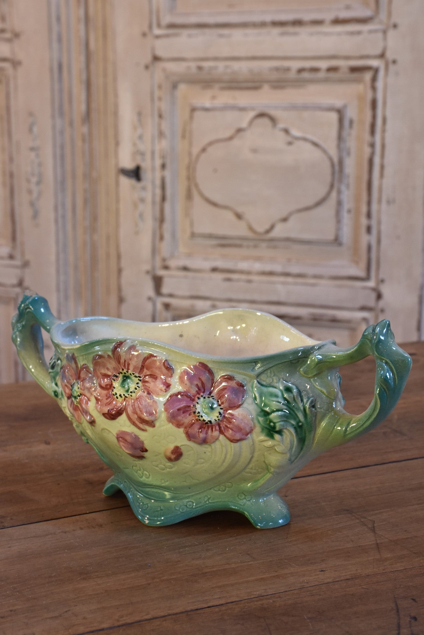 Antique Barbotine vase with pink flowers