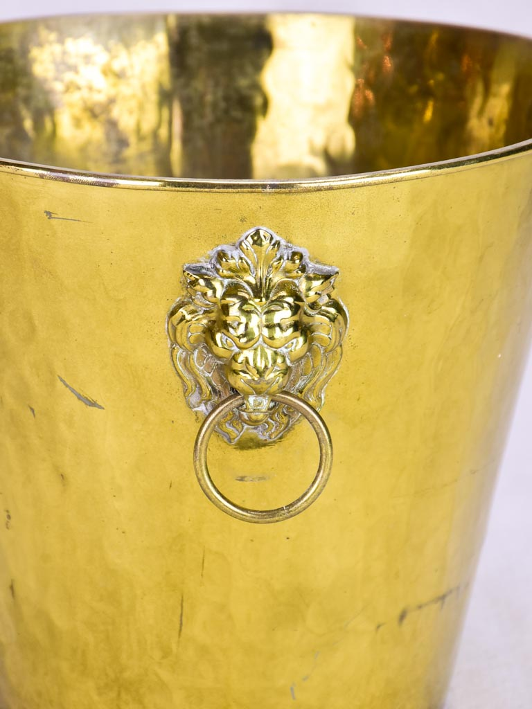 Vintage ice bucket with lions head handles and hammered brass 9¾""