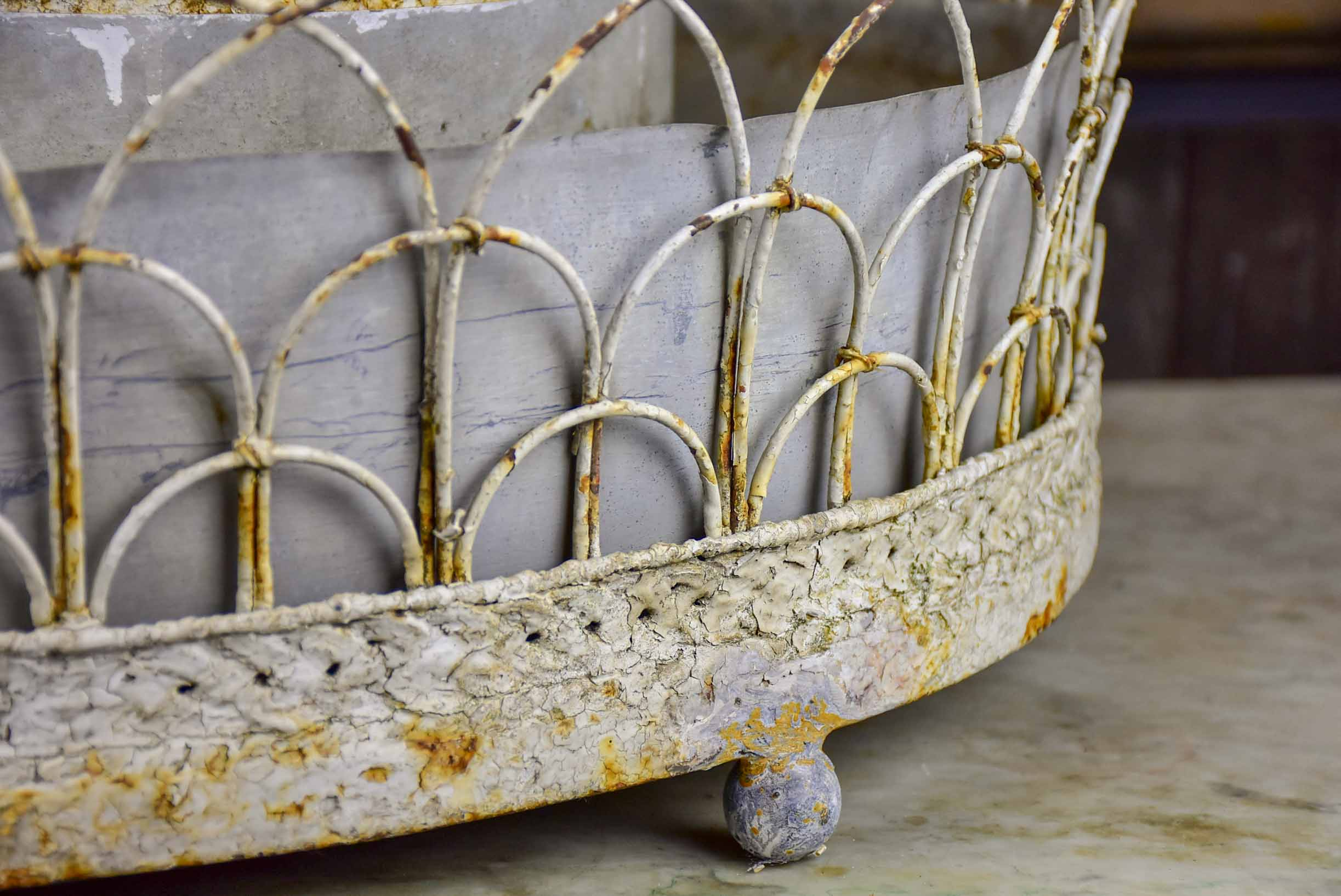 French three tier 19th Century zinc jardiniere