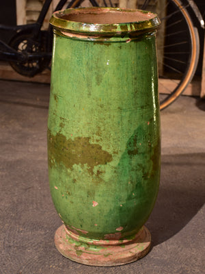 Elegant 19th century olive jar with green glaze