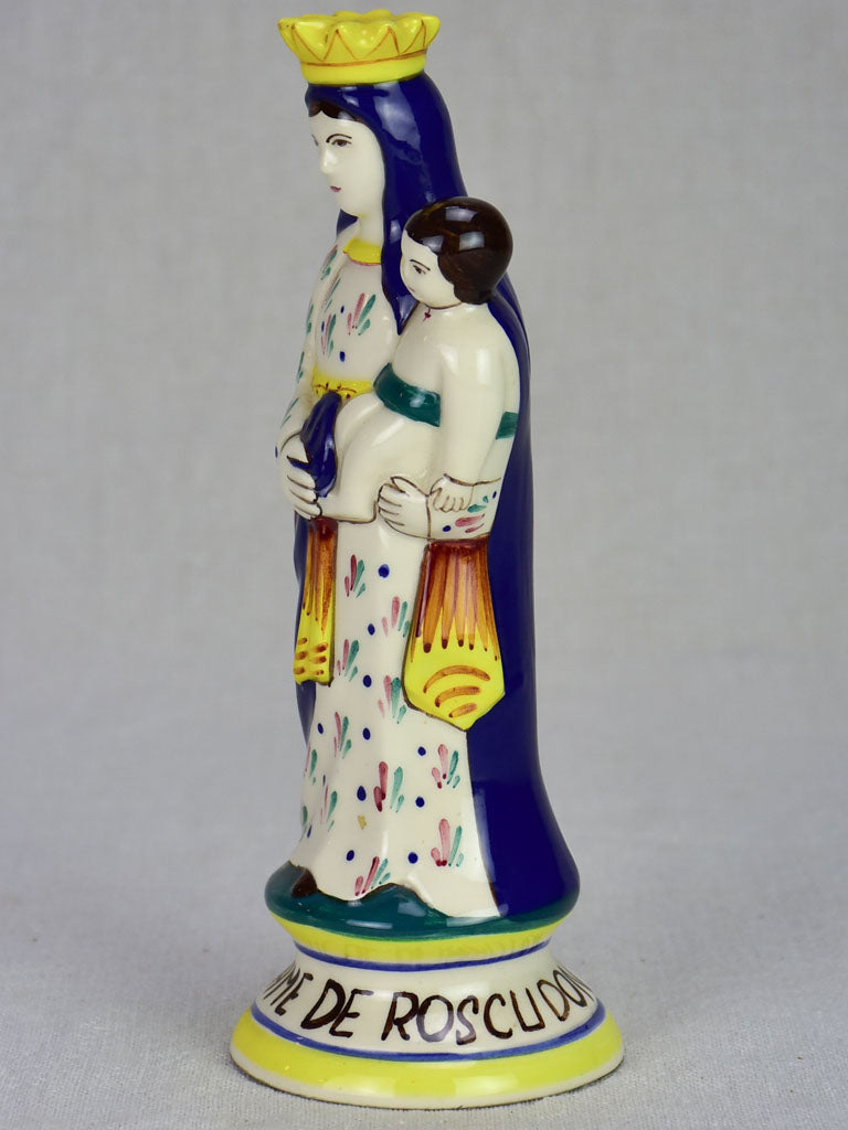 Small ceramic statue of the Virgin Mary from Quimper 9""
