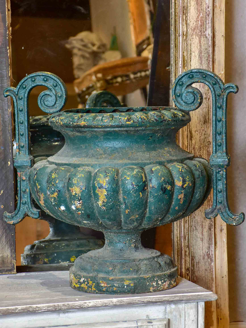 Very large 19th Century French garden urn with green patina