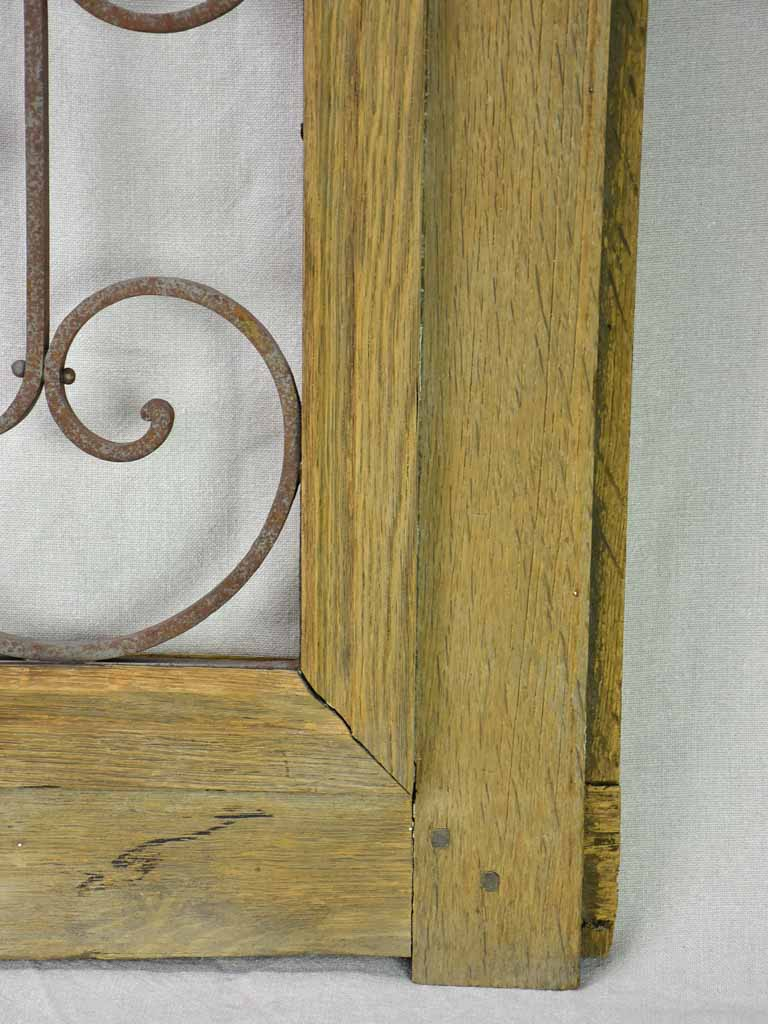 "Salvaged solid oak and wrought iron window from the late 19th / early 20th century 30¼"" x  29¼"""