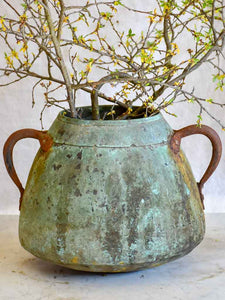 Antique French copper cauldron with two handles and blue patina