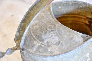 Vintage French zinc watering can with twisted brace