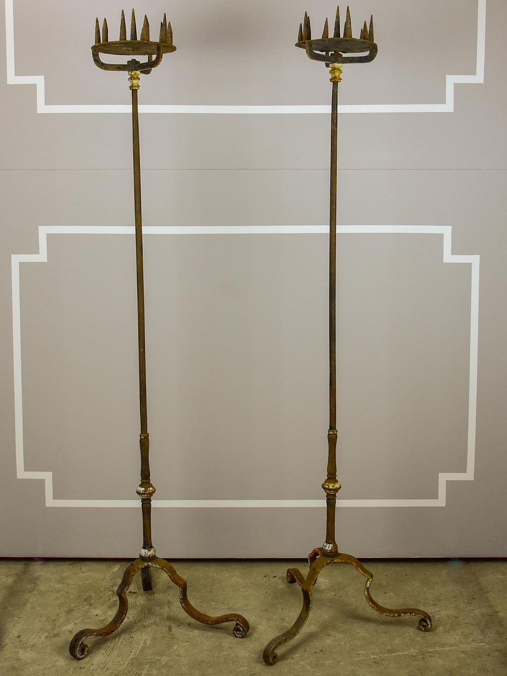 A pair of very tall 19th Century church candlesticks