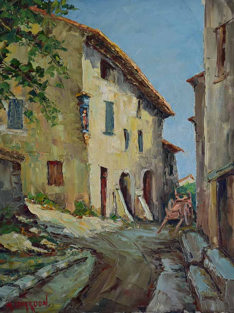Vintage French painting of a village