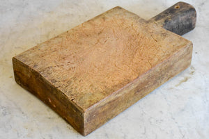 "Very chunky antique French cutting board with rectangular handle 8¾"" x 16¼"""