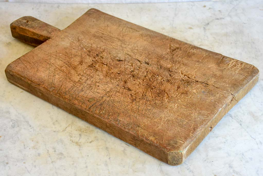 "Large antique French cutting board - dark brown timber 12½"" x 22¾"""