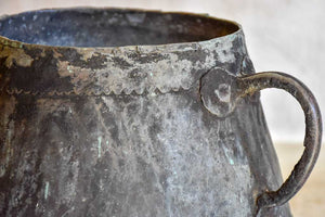Antique French copper cauldron with two handles and black patina