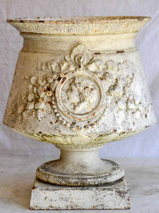 19th Century French cast iron urn with medallion and garlands - white 17¾""