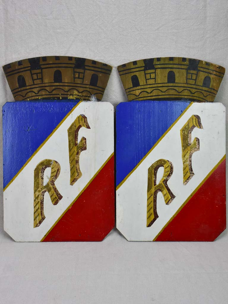 "Pair of mid-century RF shields (Republique Francaise) 21¾"" x 13"""