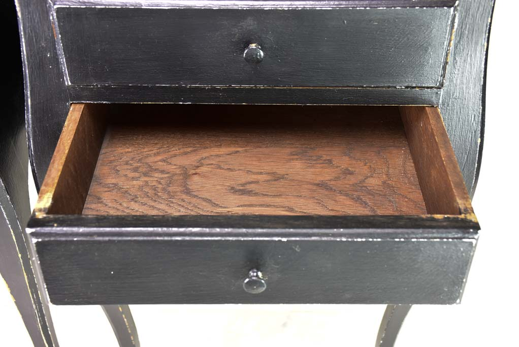 Pair of Louis XV style nightstands with black paint finish