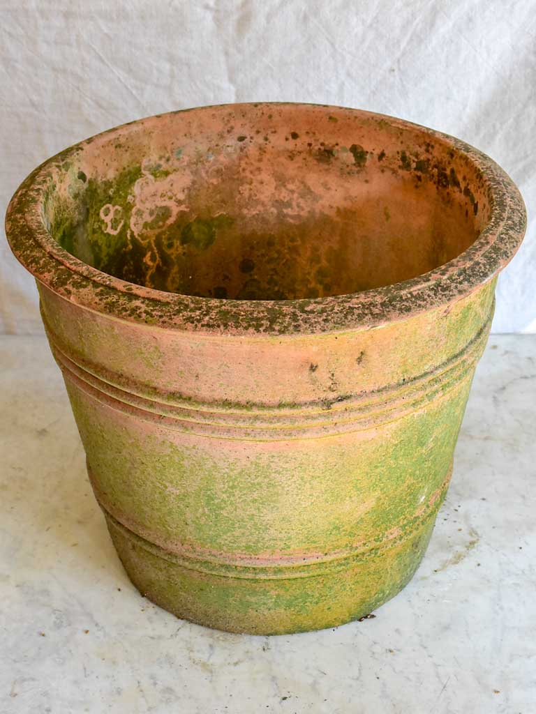 Vintage terracotta planter with ribbed detail 17¼""