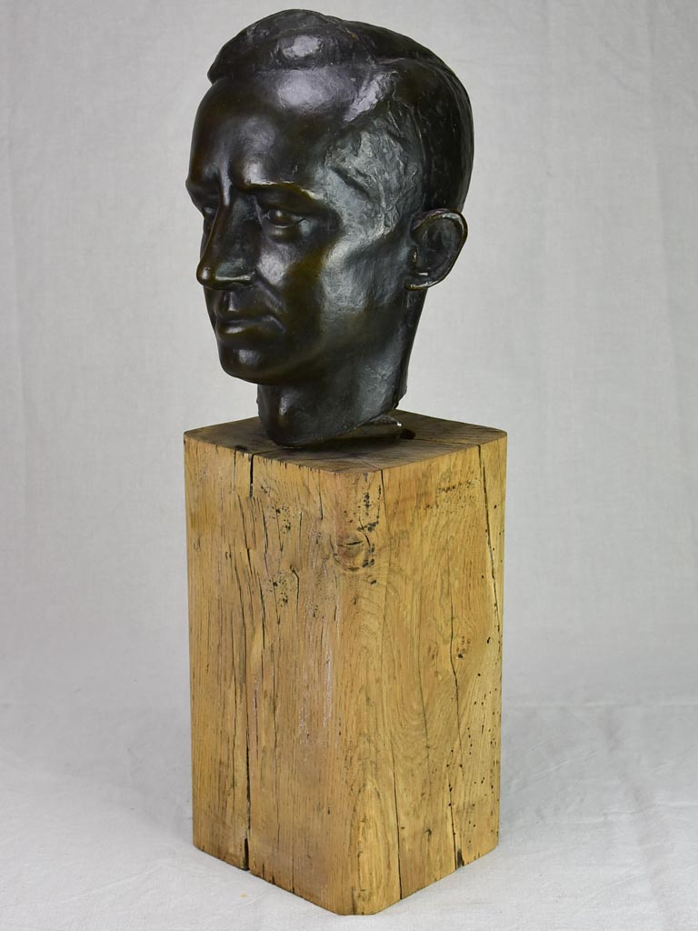 Mid century Bronze bust of a man signed L. Maize