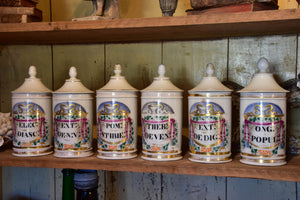 Collection of 6 antique French apothecary jars
