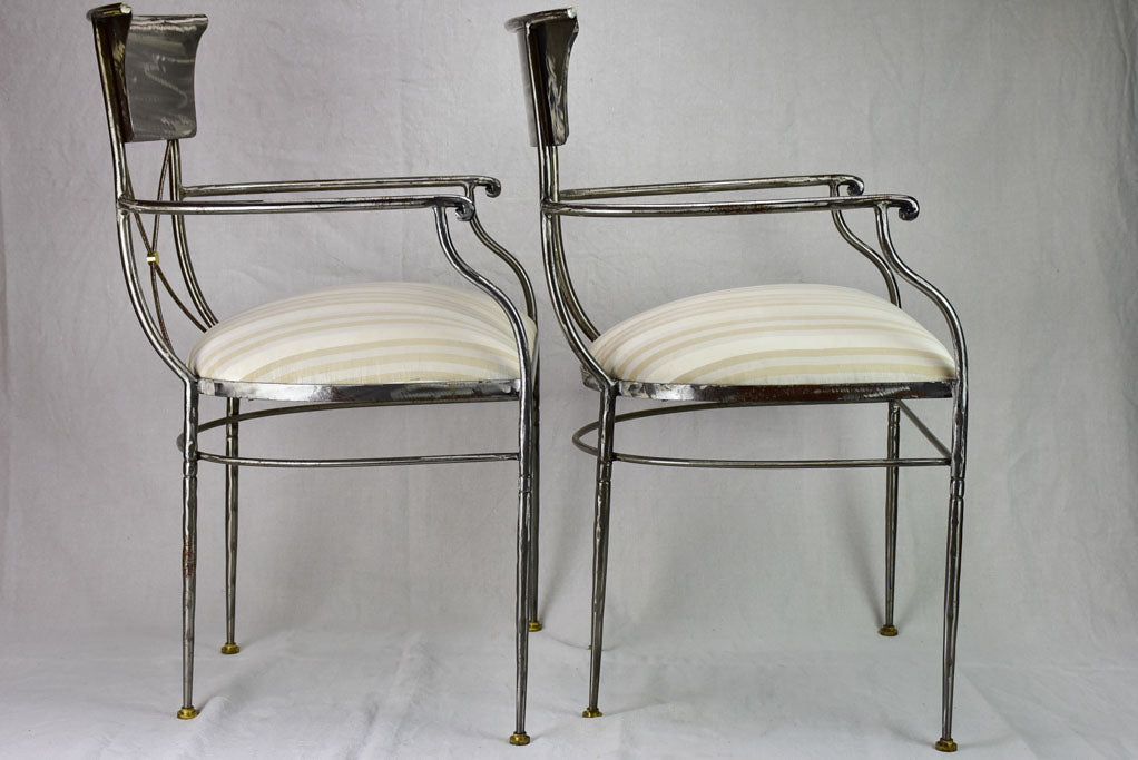 Pair of vintage metal armchairs in the Directoire style
