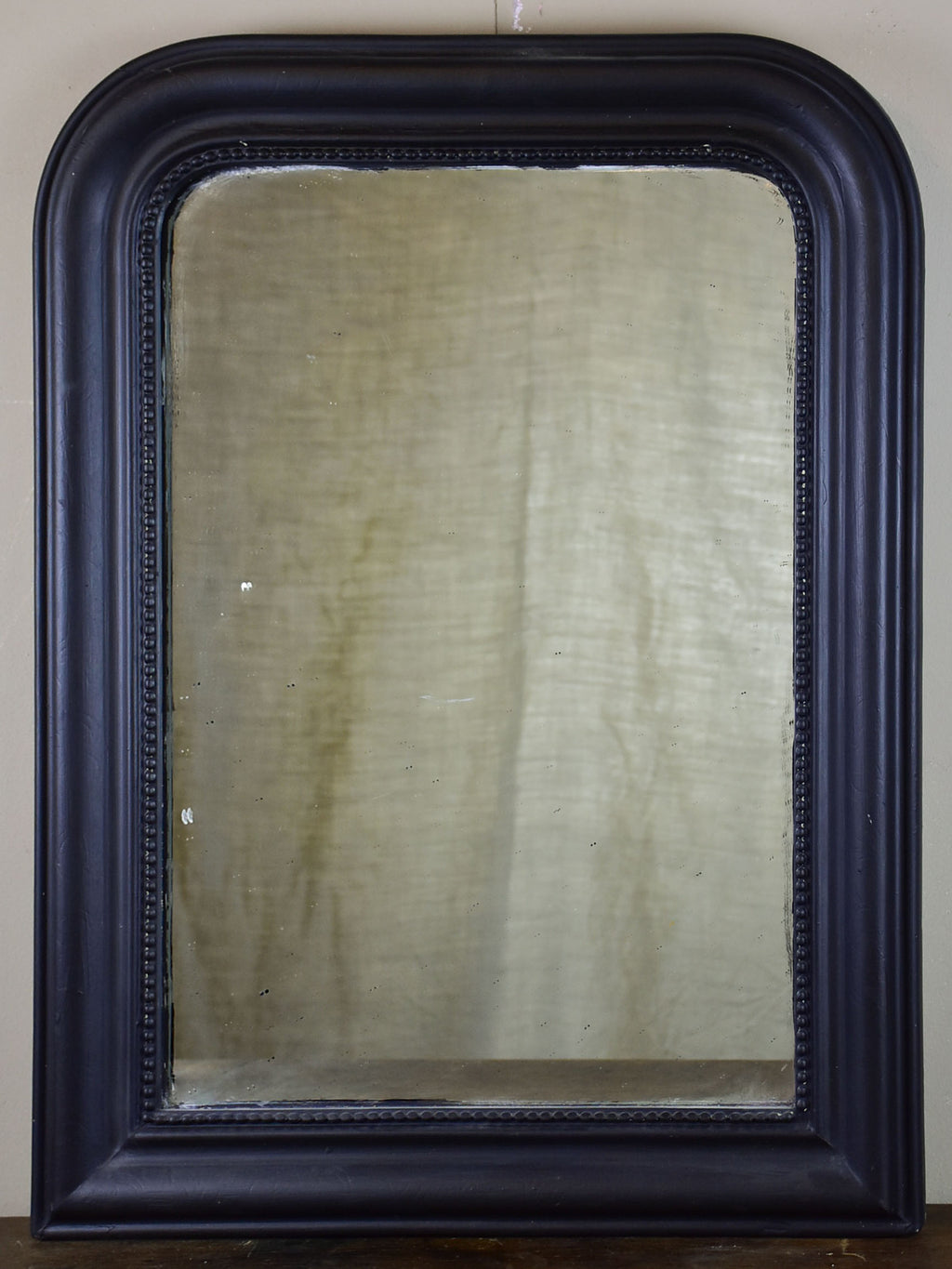 "Small antique French Louis Philippe mirror with black frame 22"" x 29"""