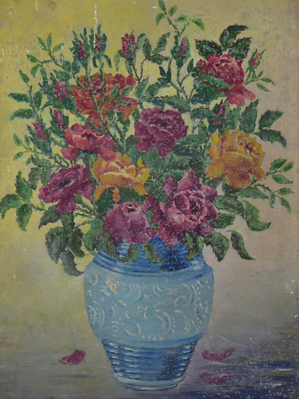 Small mid-century French painting of a bouquet of flowers 8 ¾'' x 13""