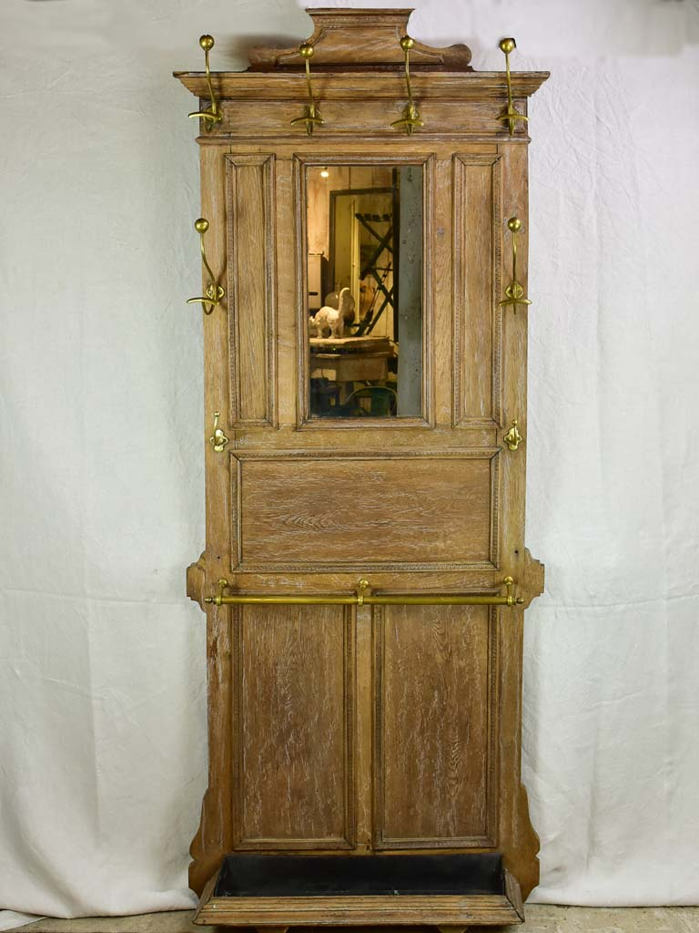 19th century French oak coat rack with mirror 82""