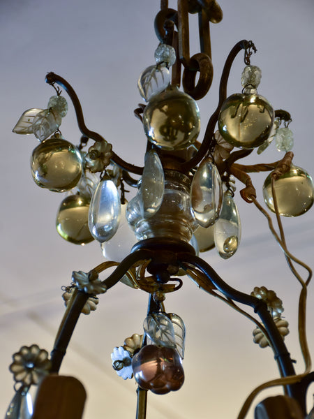 Antique Italian chandelier with Murano glass fruits