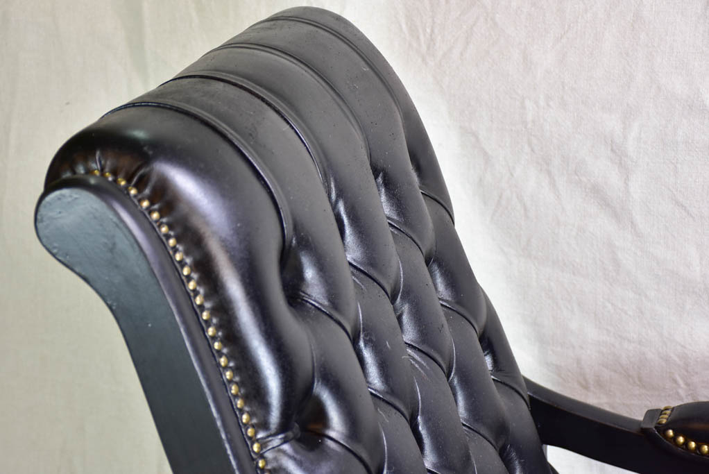 Mid century French Chesterfield style rocking chair and pouf