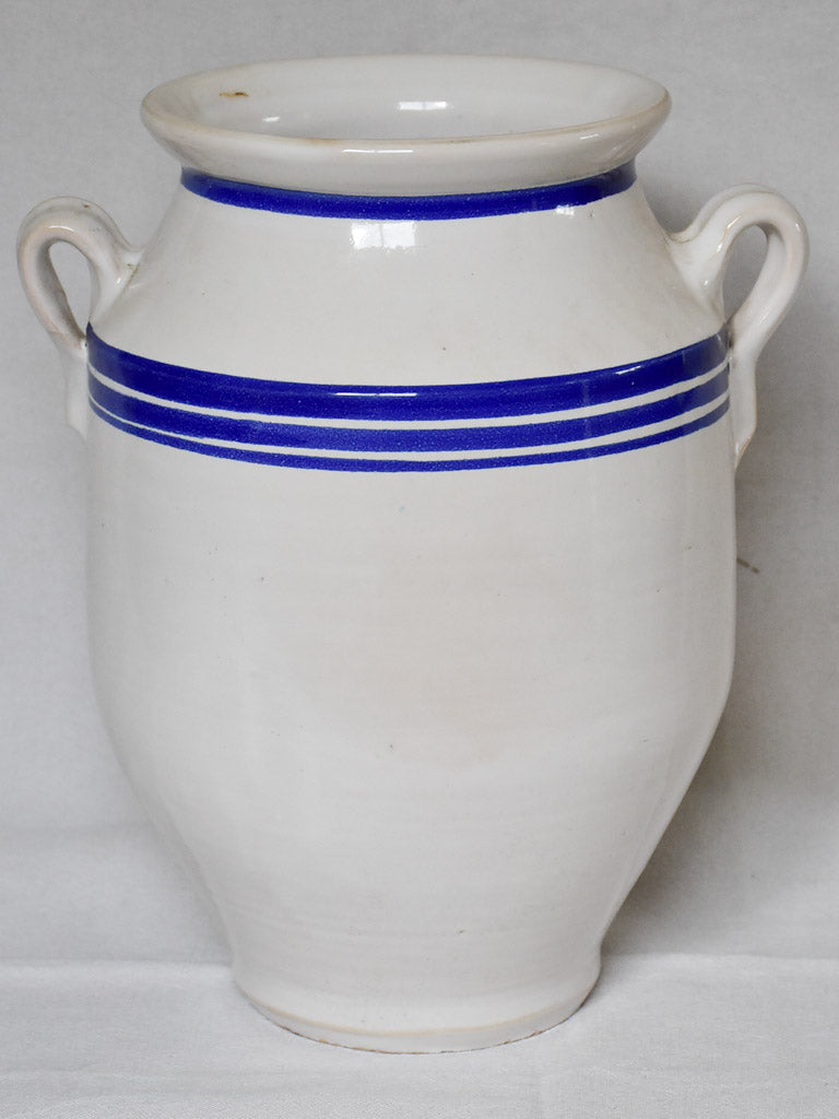 Large French preserving pot from the early 20th century - white with blue stripes 12½""