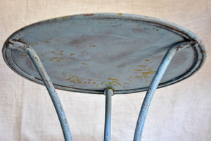 Small antique French garden table with lavender blue patina