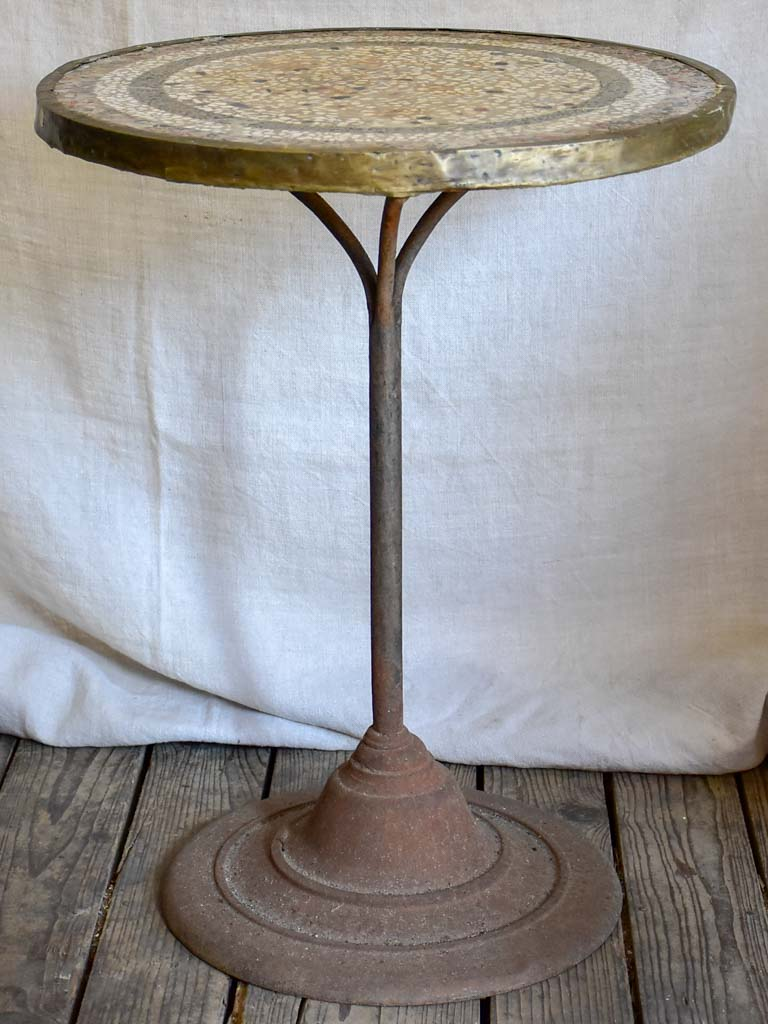 Early 20th Century French bistro table - mosaic with cast iron base