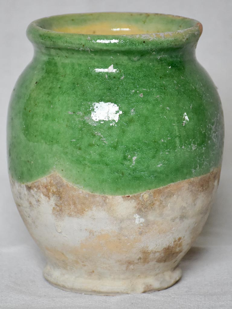 Small antique French confit pot with green glaze 6¼""