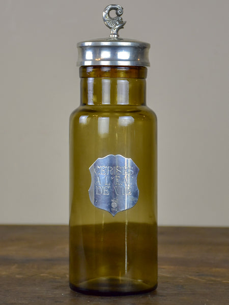 Vintage French glass bottle with badge - Cerises à l'eau de vie