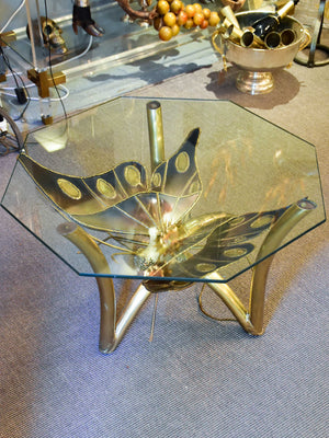 Vintage French coffee table with illuminated butterfly base