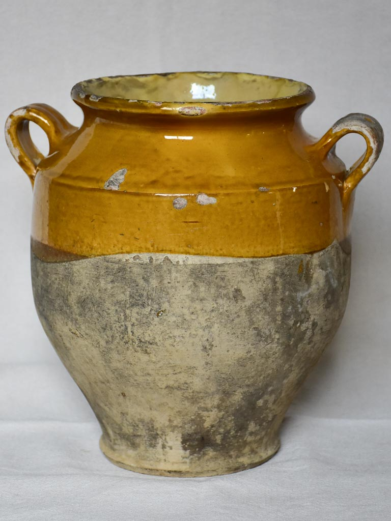 19th century French confit pot with yellow orange glaze 11""