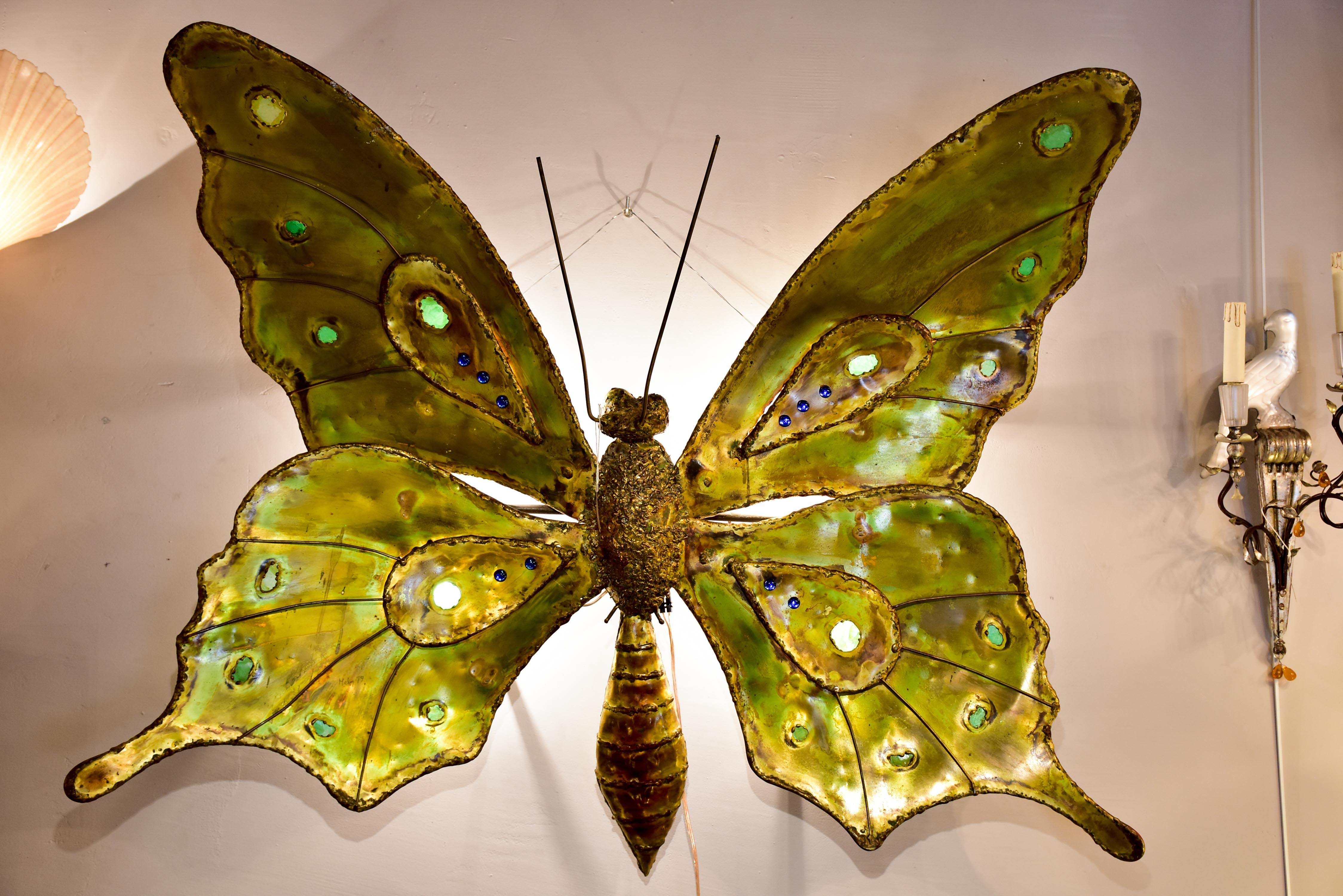 Very large butterfly wall sconce by Francois Melin, 1979