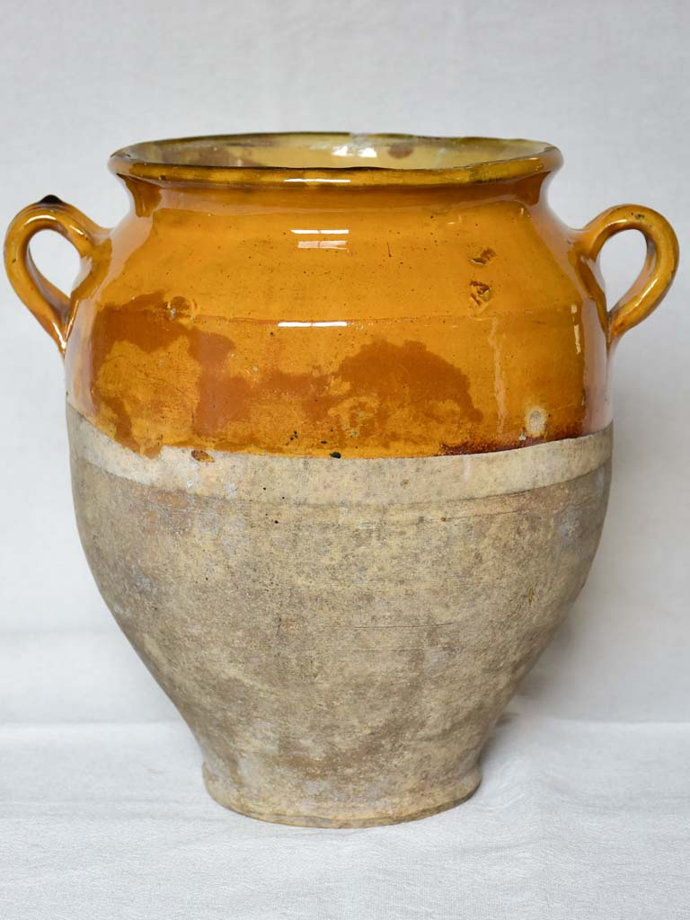 SOLD - MM Superb large antique French confit pot with orange yellow glaze 11½""