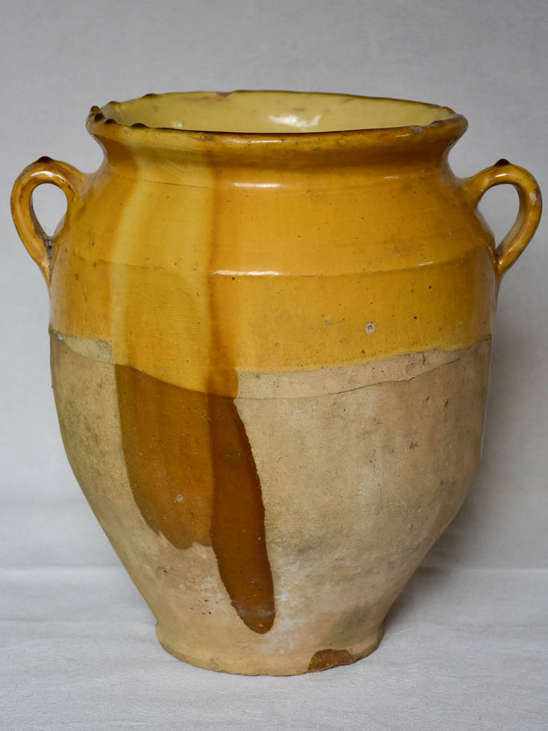Very large antique French confit pot with yellow glaze 12½""