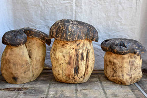 Collection of SEVEN artisan made garden stools - carved mushrooms / toadstools