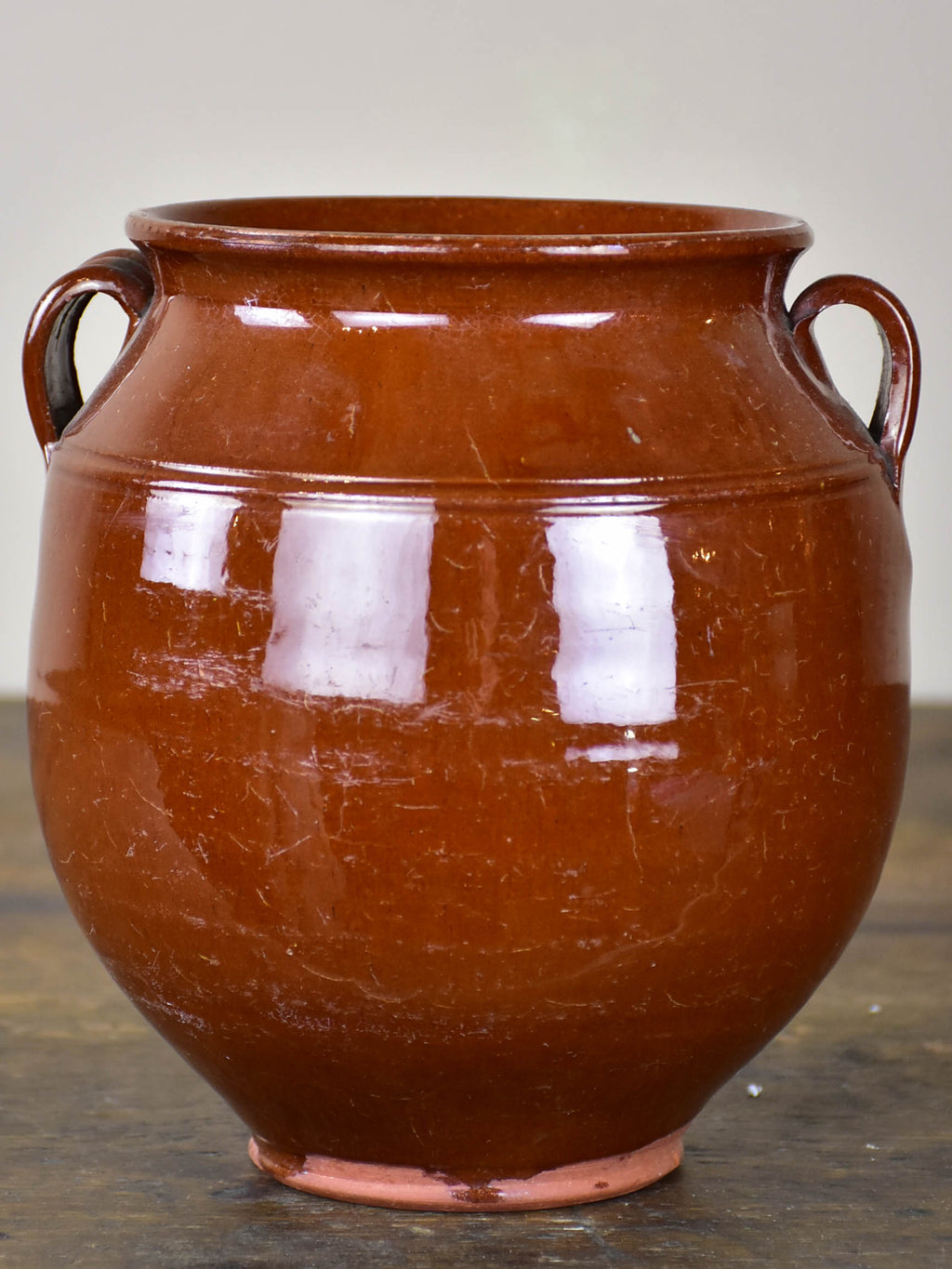 Vintage French confit pot with unusual brown glaze