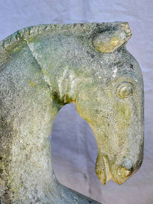 Unusual cement horse sculpture - three heads