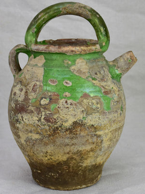 Antique French water pitcher with green glaze 11¾""