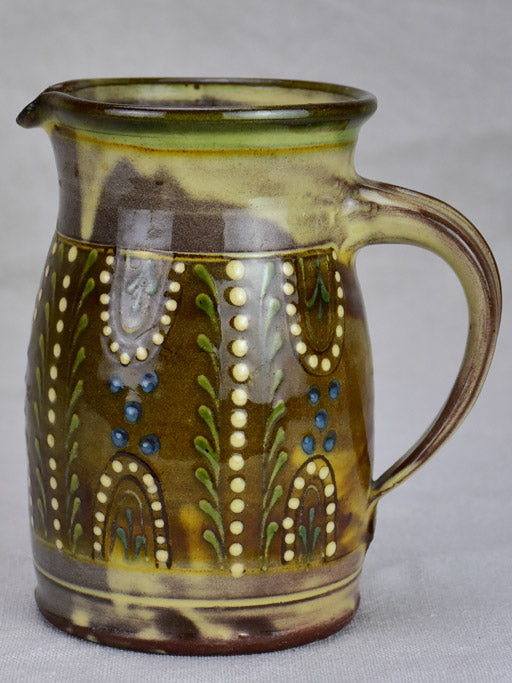 Mid century French glazed Mediterranean pitcher - branded Cailar