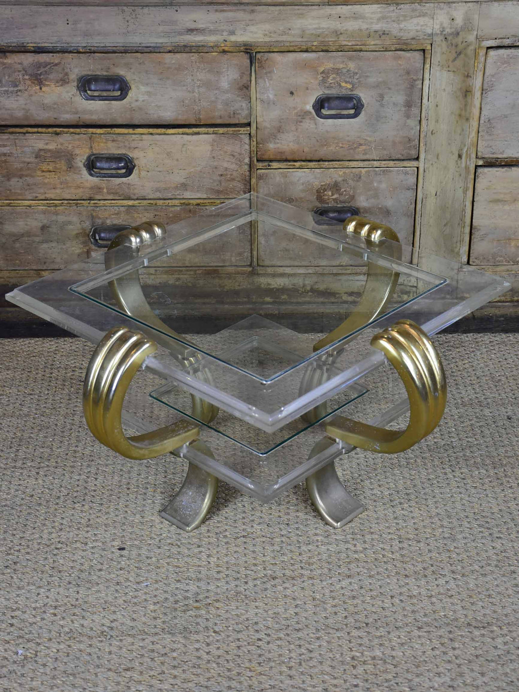 Vintage French coffee table - square with two shelves