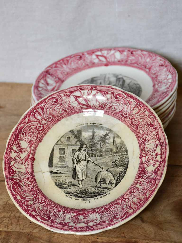 Collection of nine Gien Jeanne of Arc plates with pink border