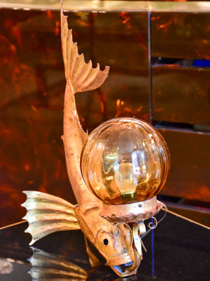 Vintage fish lamp with amber glass bubble