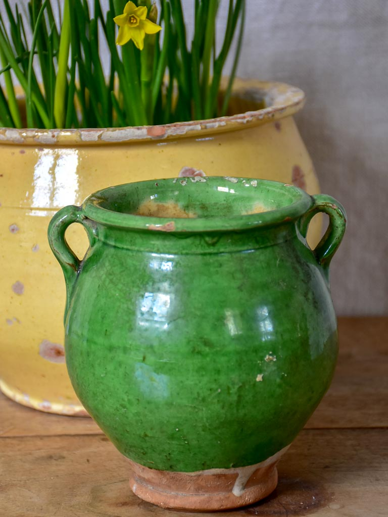 Very small antique French confit pot with green glaze 5½""