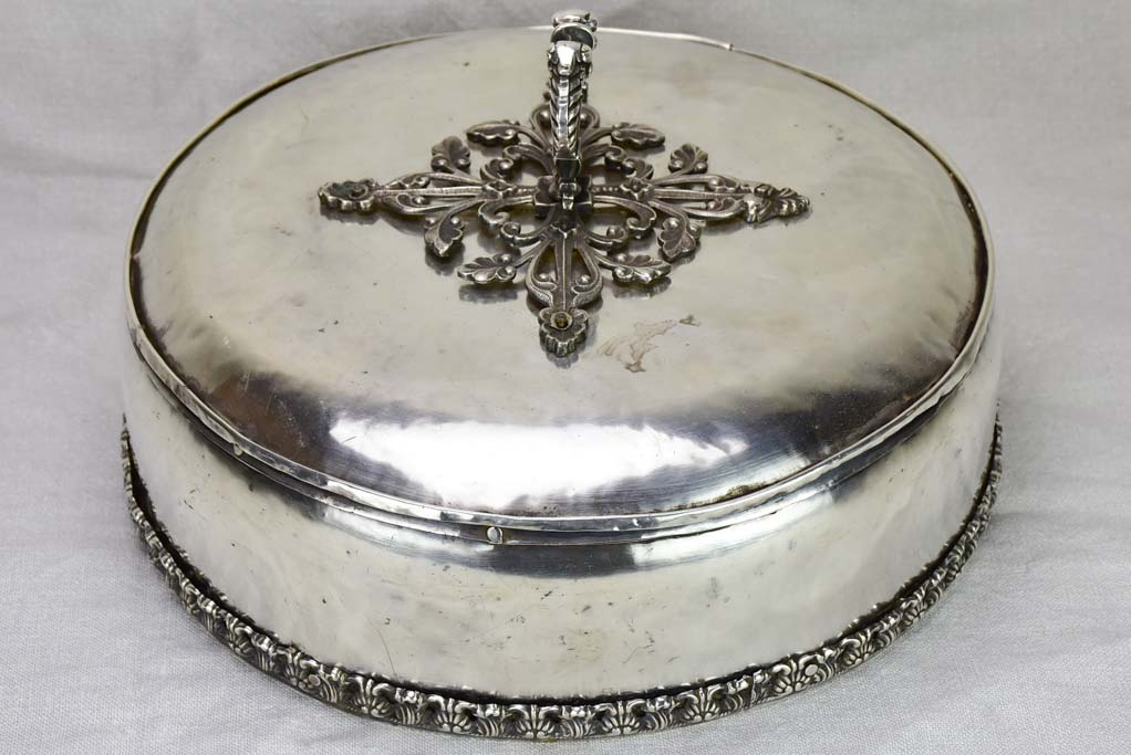 Elaborate early 19th Century French meat cover - silver fused on copper 13¾""
