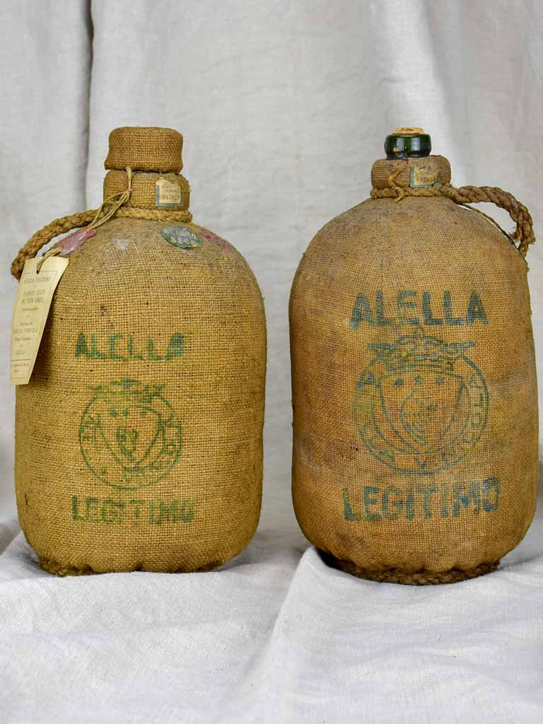 Two 19th Century Spanish wine bottles in jute