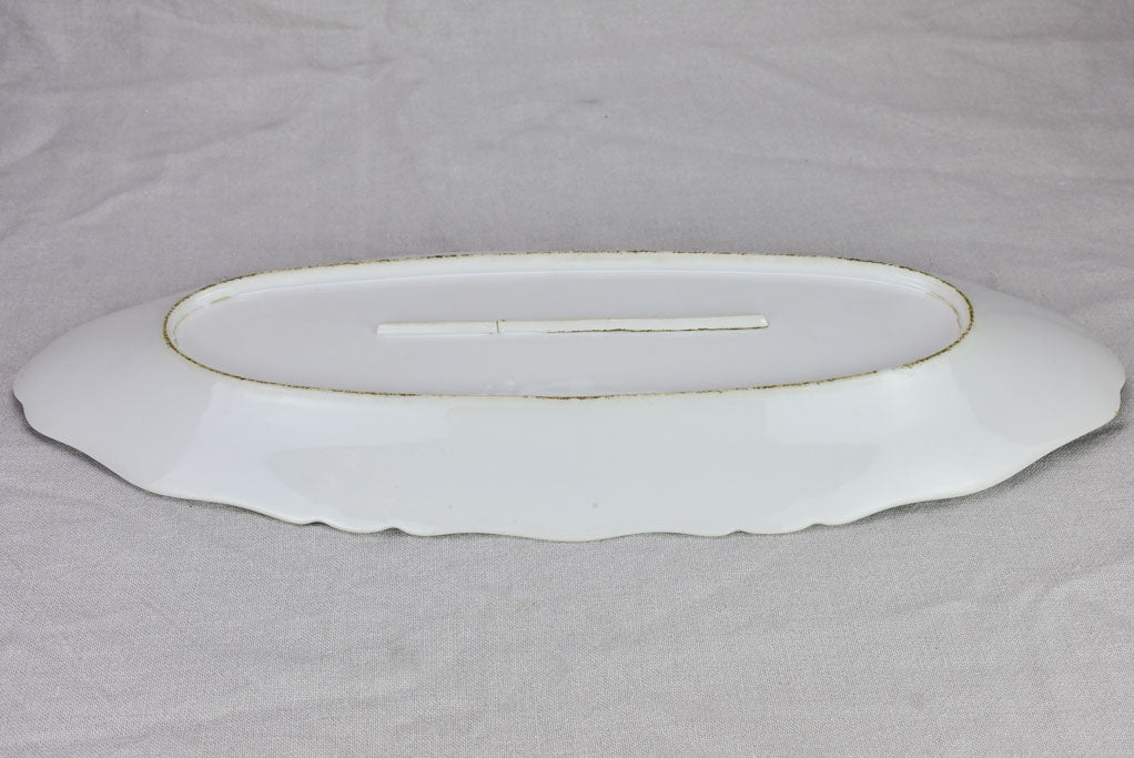 "Early 20th Century French oval platter with decorative edge 24¾"" x 9½"""