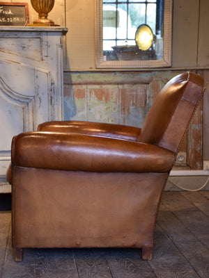 Vintage French leather club chair in original condition